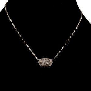 Kendra Scott Elisa Silver Platinum Drusy Necklace